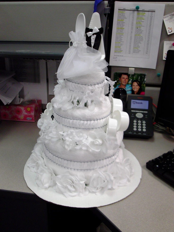 Wedding Shower Cake Made with Towels