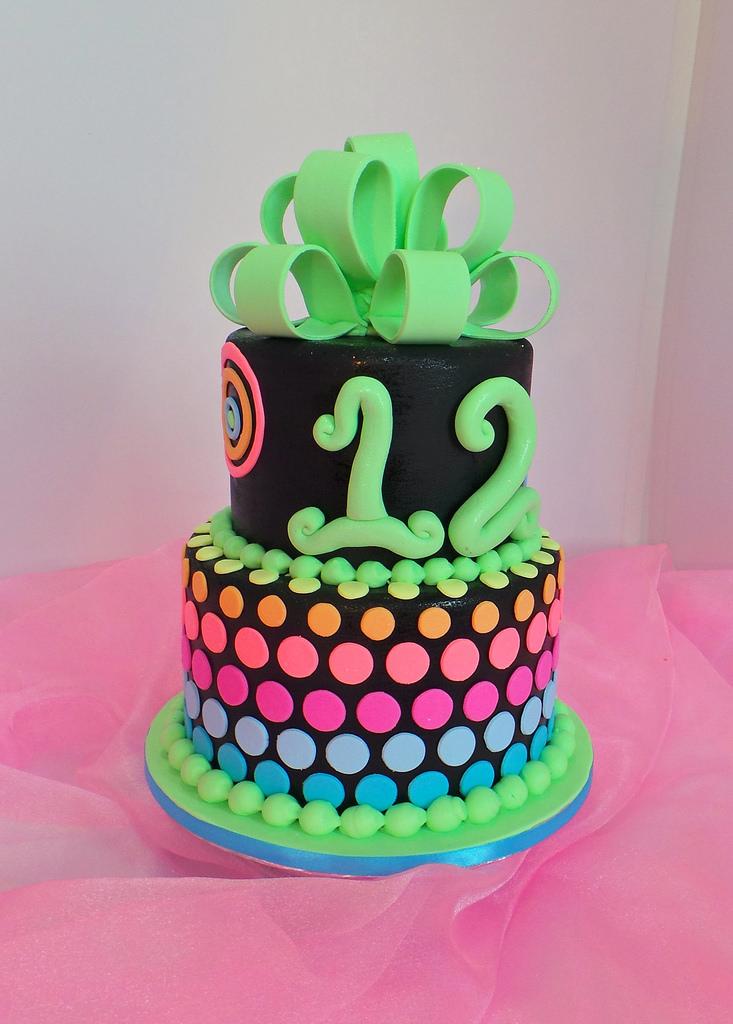 White Neon Birthday Cake Ideas