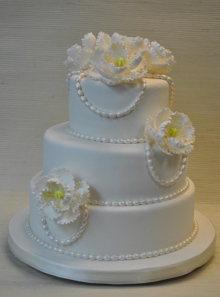 White Wedding Cake with Fondant Flowers